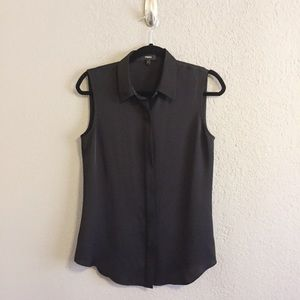 Theory Black Tanelis Modern Silk Sleeveless Blouse